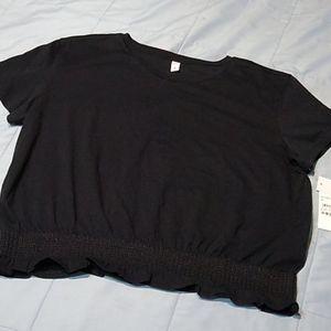 BP. Nordstrom Black Cropped Tshirt Ruffle XL